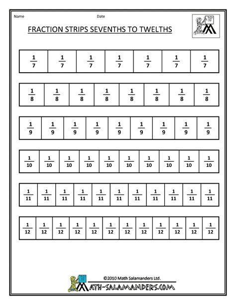 printable math worksheets fraction bars printable fraction strips math printables pinterest