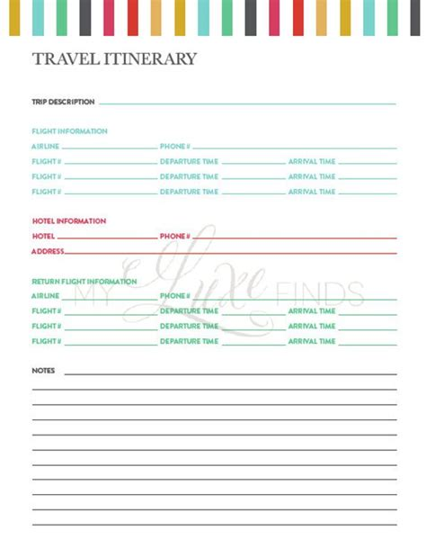 Travel Itinerary Notes Information Printable Home Travel And Entertainment Policy Template