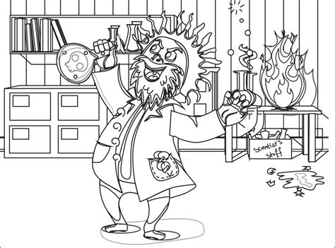 Mad Scientist Black White Line Art Coloring Book Colouring Scientist Coloring Pages
