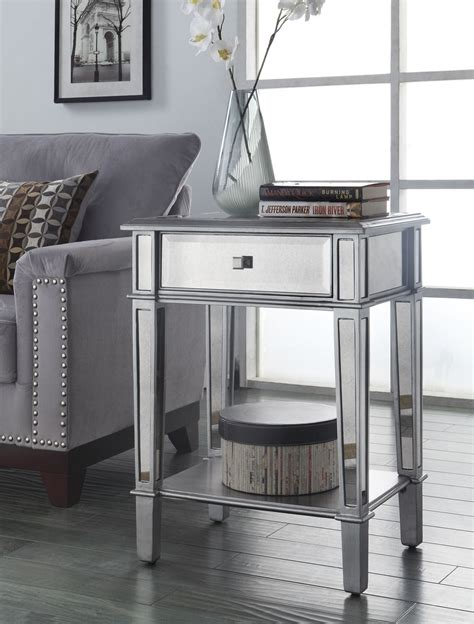 small mirrored accent table painted silver color small mirrored accent table with drawer and shelves plus flower stand in
