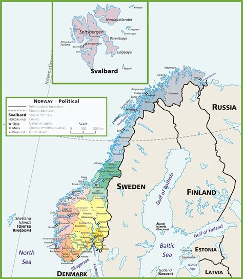 political map of scandinavia political map