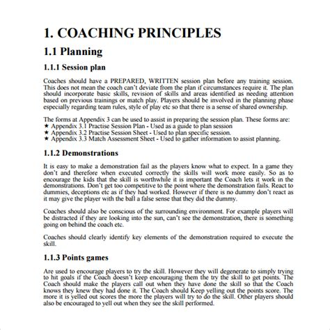 coaching session plan template sle coaching plan template 7 free documents