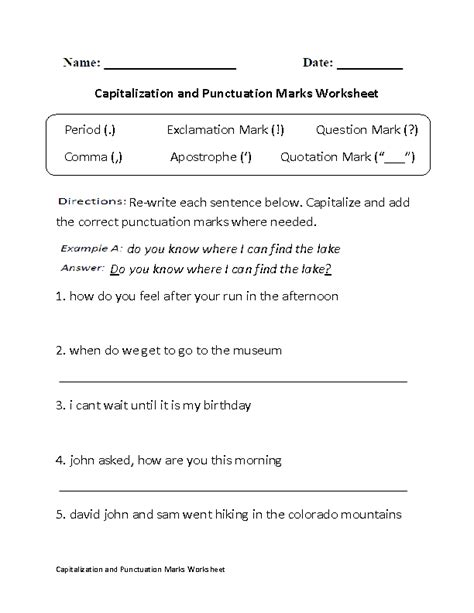 Punctuation Marks Worksheets by Capitalizaton Punctuation Marks Worksheet Worksheets