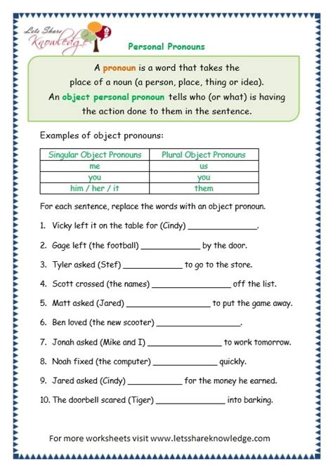 personal pronouns worksheets for grade 3 exercises on
