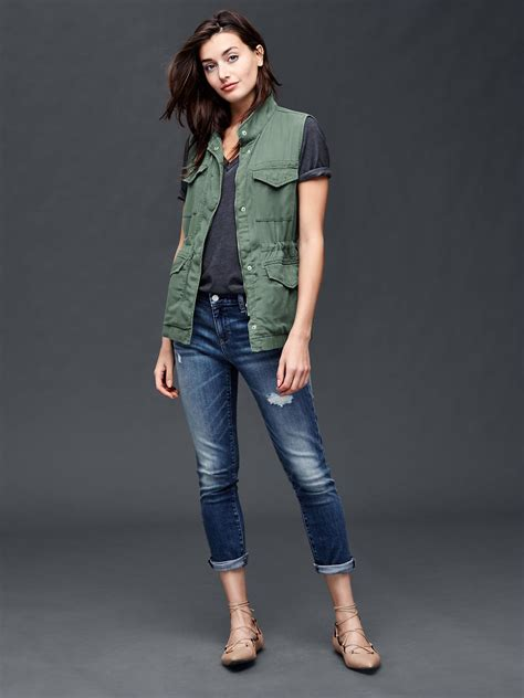 gap tencel 174 utility vest in green cool olive lyst