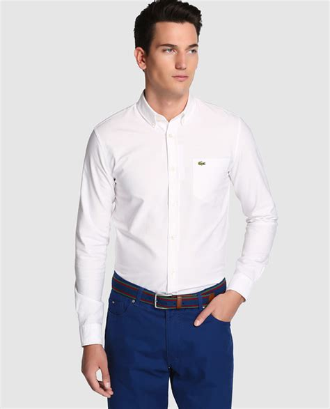 corte en white plains lacoste men s plain white shirt 183 lacoste 183 fashion 183 el