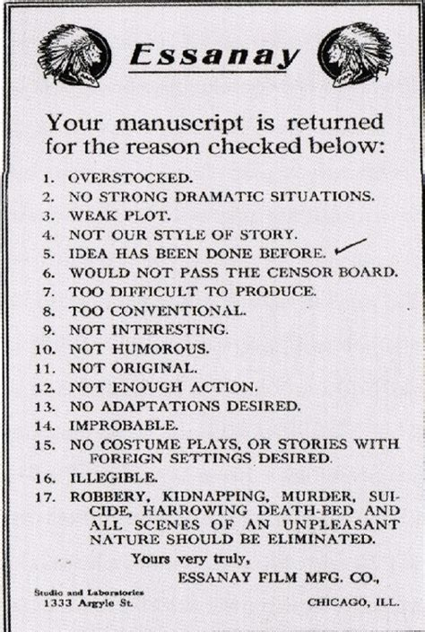 Rejection Letter Manuscript rejection letter from hollywood s days the sue