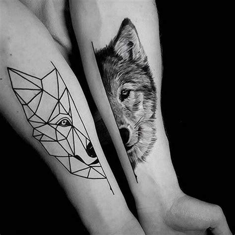 wolf tattoo half geometric 1001 ideen f 252 r einen tollen wolf tattoo die ihnen sehr