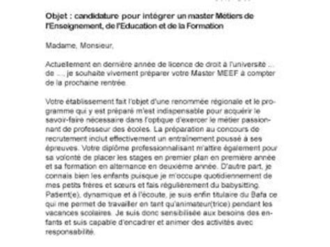 Exemple De Lettre De Motivation Pour Un Master Lettre Motivation Master 2