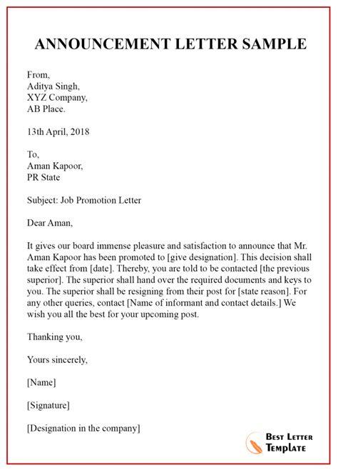 announcement letter template format sample