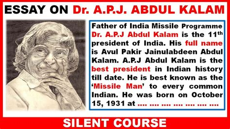 abdul kalam biography in english video essay on apj abdul kalam in english best essay youtube