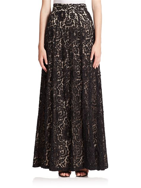 issa embellished lace maxi skirt in black