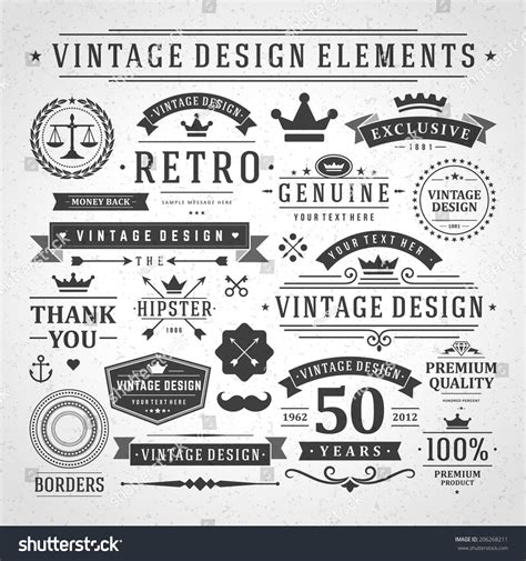 vintage menu design elements vector vintage vector design elements retro style stock vector