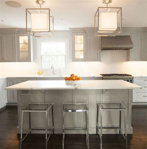 Kitchen Bar Cabinets Gray Kitchen Cabinets With White Marble Countertops