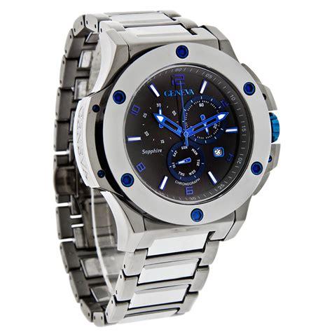 tungsten watches geneva 612 mtt mens black tungsten chronograph quartz