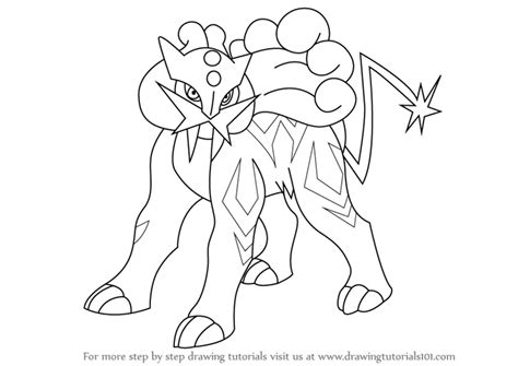 pokemon coloring pages raikou learn how to draw raikou from pokemon pokemon step by