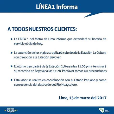 horario de servicio del metro l 237 nea 1 del metro de lima extiende horario de servicio por