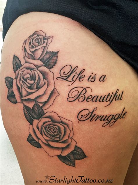 struggle tattoos traditional black outlined roses with writing