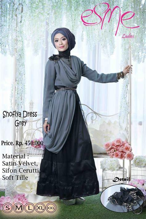 esme shofiya dress grey baju muslim gamis modern