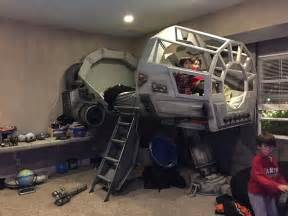 wars beds builds his a wars millennium falcon bed