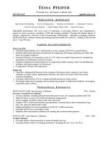 executive assistant resume sles executive assistant resume free sle resumes