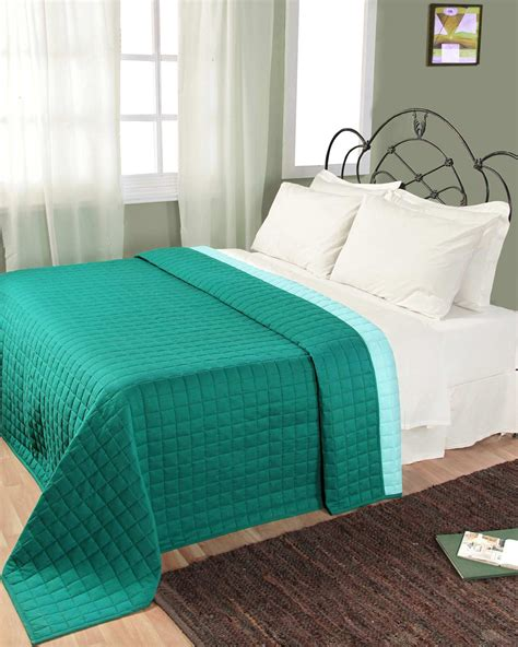 Teal Quilted Bedspread Cotton Quilted Reversible Bedspread Teal Blue Homescapes
