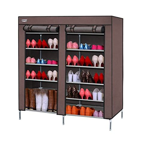 Front Door Shoe Rack Ottff Portable Storage Closet Shoe Organizer Rack With 2 Fold Up Front Door Flaps Shoe Cabinet