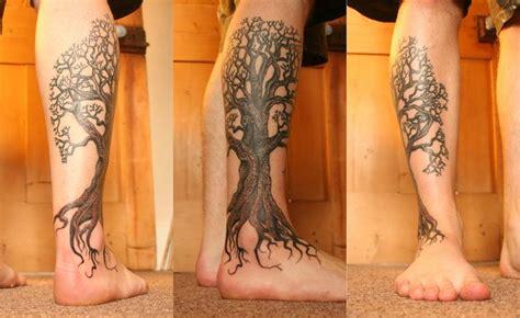 calf tattoo family tree oak tree on the leg tattoo drawings tattoo and such