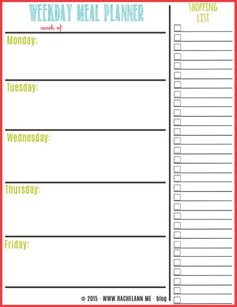 25 best ideas about meal planner printable on