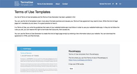 terms of use template and generator for 2017