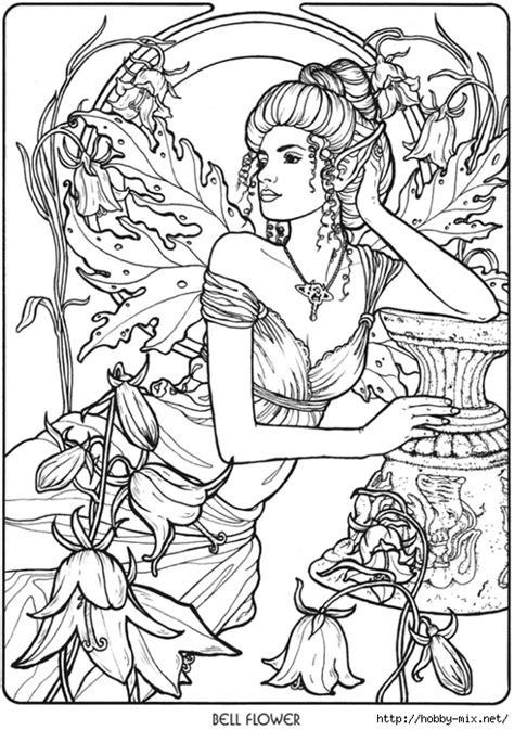 coloring pages for adults mythical bellflower fairy fae fantasy myth mythical mystical legend