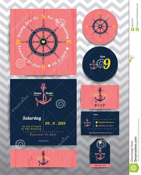 id card rope design nautical wedding invitation and rsvp card template set on