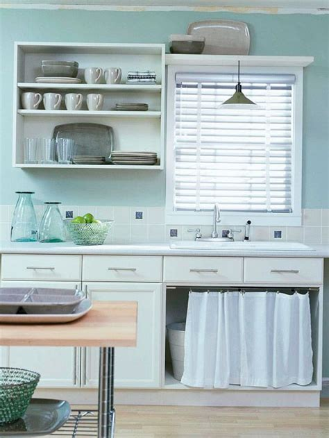 low cost cabinet makeovers open shelving sink and