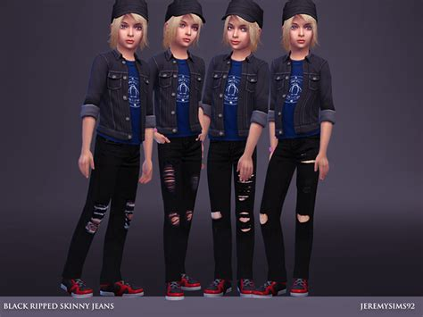 child sims 3 jeans jeremy sims92 s black ripped skinny jeans