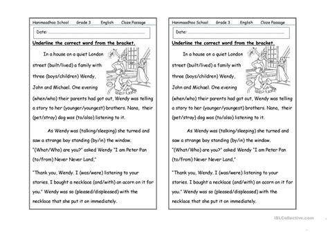 cloze passage worksheet free esl printable worksheets