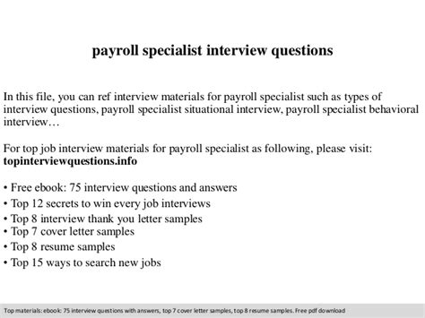 payroll specialist questions