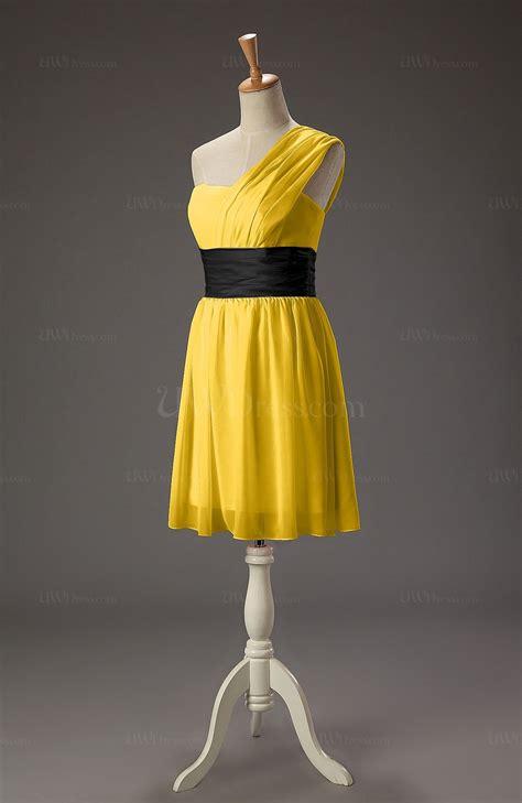 Dolimoli Ribbon Shoulder Yellow Dress yellow a line one shoulder sleeveless mini ribbon