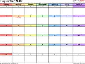Kalender 2018 August September September 2018 Calendars For Word Excel Pdf