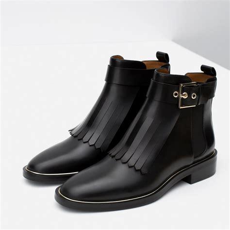 Zara Boots Original bnwt genuine zara new aw 2015 black leather ankle boot with fringes all sizes ebay