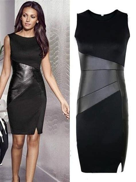 pattern leather dress geometric fashion black leather dress with hexagonal