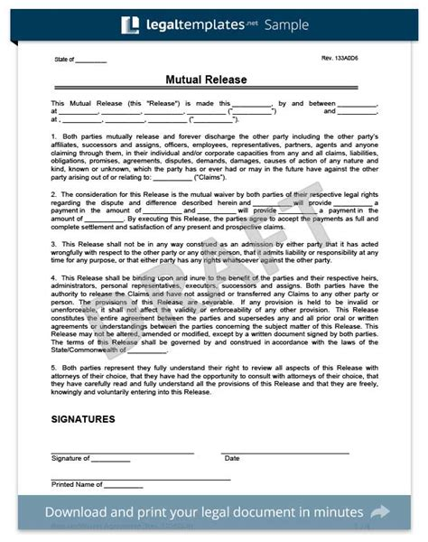 Free Release Of Liability Form Sle Waiver Form Legal Templates Release Of Claims Template