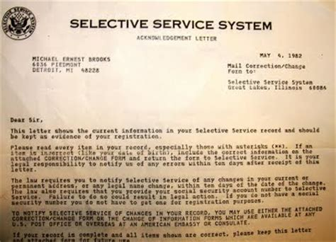 Exle Letter To Selective Service Historymike September 2009