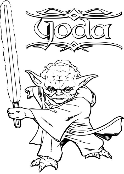free coloring pages of yoda with lightsaber