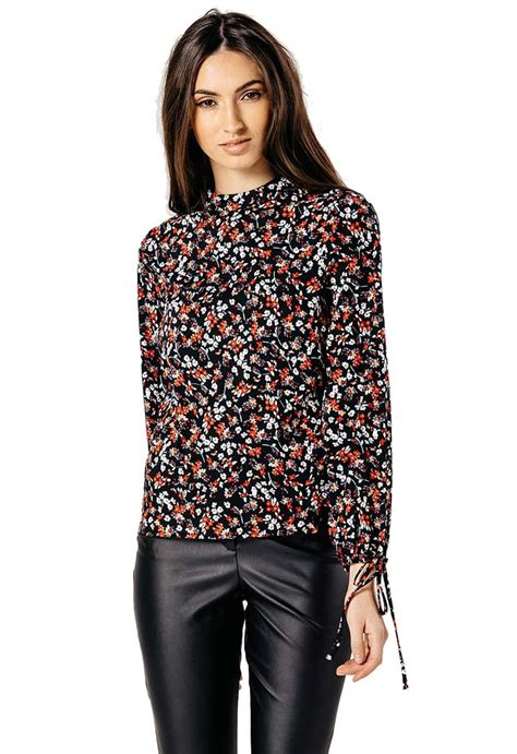 Sleeve High Neck Blouse by Black Floral High Neck Balloon Sleeve Blouse Miss Rebel