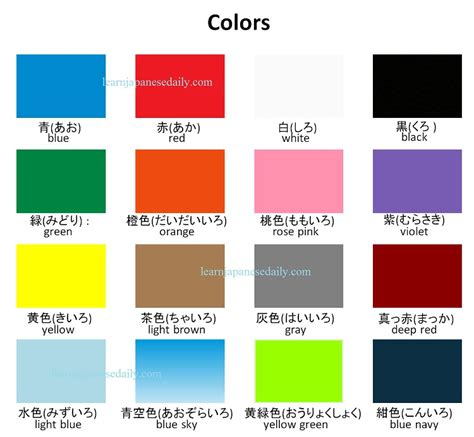 color vocabulary japanese vocabulary on colors japanese words by theme