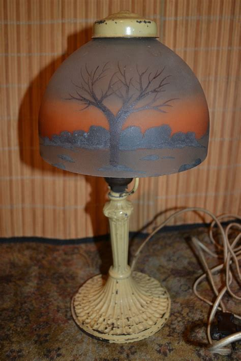 antique brass table l with glass shade antique reverse painted glass shade cast iron metal base