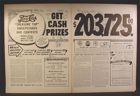 Pepsi Cola Sweepstakes - magazine ad for pepsi pepsi cola treasure top sweepstakes contest under the cork