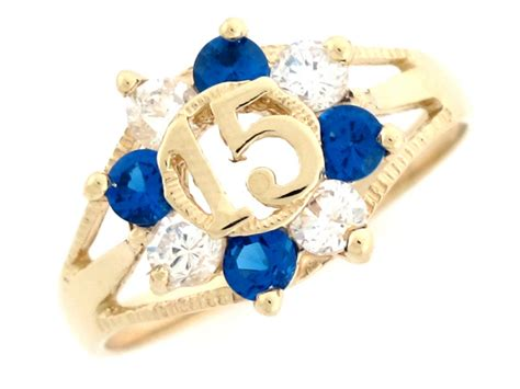 yellow gold blue sapphire and white cz 15 anos quinceanera