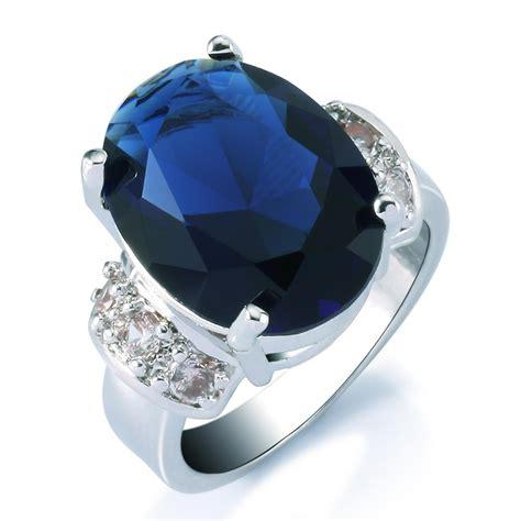 blue saphire corondum 6 3ct s white gold finish zircon 3ct ring sparkling blue