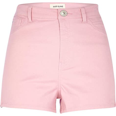 light pink denim shorts light pink high waisted stretch shorts denim shorts